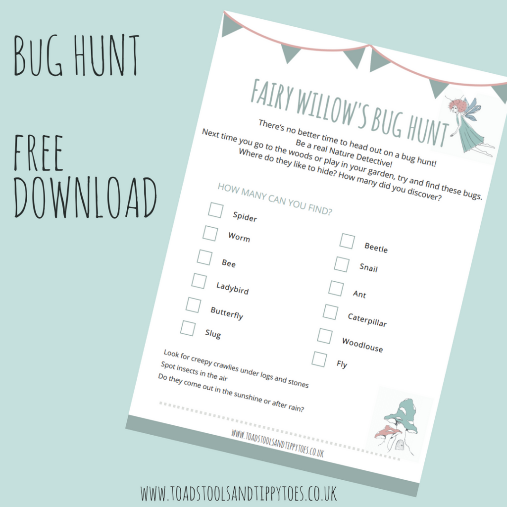 Free PDF Printable Bug Hunt to Download for a perfect kids outdoor activity.