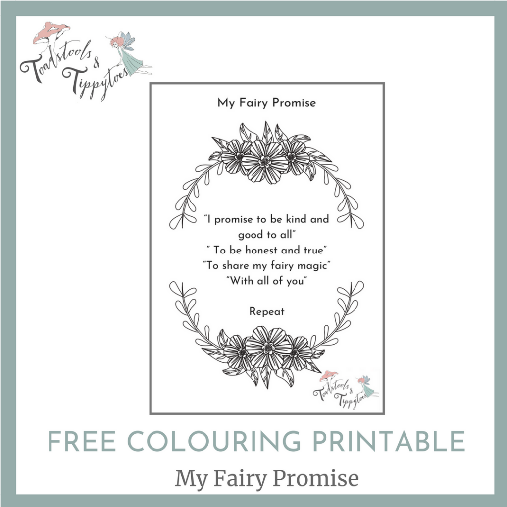 Fairy Colouring Printable for your little fairy to make her fairy promise