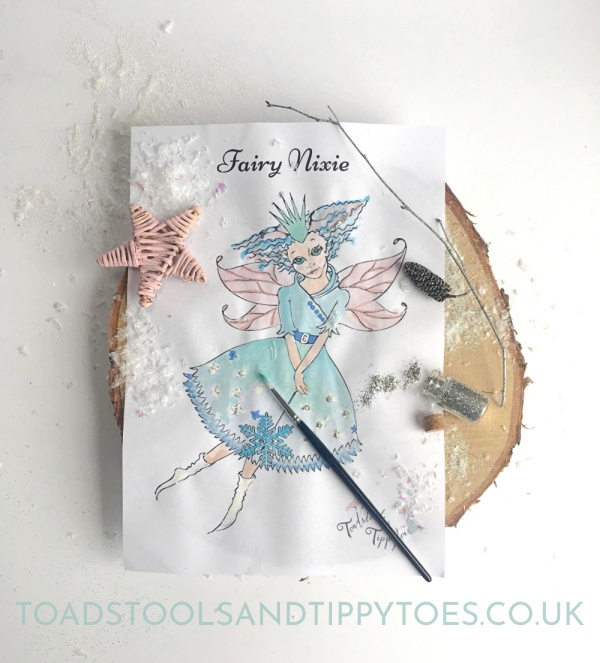 Fairy colouring page - free printable to download.